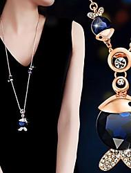 abordables -Collier Sautoir Femme Zircon cubique Imitation Diamant Poissons Le style mignon Noir Bleu de minuit 75+6 cm Colliers Tendance Bijoux 1pc pour Quotidien