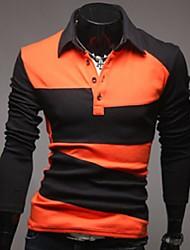 Недорогие -Муж. Polo Деловые / Элегантный стиль Полоски / Контрастных цветов Черный