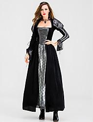 abordables -Sorcière Robe Costume de Cosplay Costume de Soirée Adulte Femme Cosplay Halloween Halloween Fête / Célébration Métissé Coton / Polyester Noir Femme Déguisement Carnaval