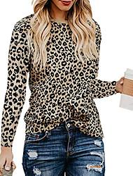 billige -T-skjorte Dame - Leopard, Trykt mønster Vintage Svart
