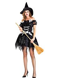 abordables -Sorcière Robe Costume de Cosplay Chapeau Costume de Soirée Adulte Femme Cosplay Halloween Halloween Fête / Célébration Métissé Coton / Polyester Noir Femme Déguisement Carnaval