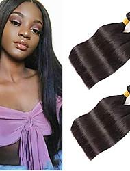 Недорогие -6 Связок Бразильские волосы Прямой Натуральные волосы Пучок волос One Pack Solution Накладки из натуральных волос 8-28 дюймовый Естественный цвет Ткет человеческих волос / 8A