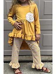 Недорогие -Дети Девочки Классический Полоски Halloween Длинный рукав Набор одежды Желтый