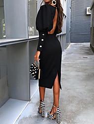 Недорогие -Жен. Элегантный стиль Оболочка Платье - Однотонный, Открытая спина До колена