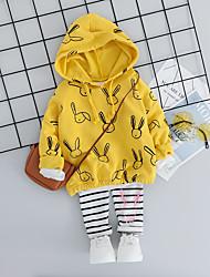Недорогие -малыш Девочки Активный / Классический Rabbit С принтом С принтом Длинный рукав Обычный Обычная Набор одежды Розовый