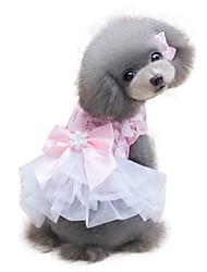 Недорогие -Собака Платья Одежда для собак Бант Желтый Розовый Шифон Костюм Назначение Лето Изысканный и современный Свадьба Мода