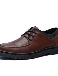 baratos -Homens Sapatos Confortáveis Couro Ecológico Outono Casual Oxfords Não escorregar Preto / Marron / Khaki