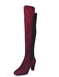 Недорогие -Жен. Ботинки На толстом каблуке Круглый носок Хлопок Сапоги выше колена Лето Черный / Красный / Серый