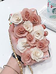 Недорогие -Кейс для Назначение SSamsung Galaxy S9 / S9 Plus / S8 Plus Кошелек / Бумажник для карт / Флип Чехол Цветы Кожа PU