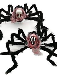 Недорогие -супер большой плюшевый паук из проволоки и плюшевый черный стиль для украшения партии или хэллоуина 1 шт
