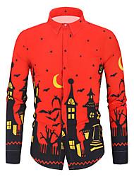 Недорогие -Муж. Пэчворк / С принтом Рубашка Классический / Уличный стиль Контрастных цветов Красный