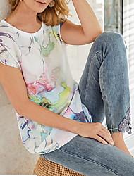 billige -T-skjorte Dame - Blomstret Hvit