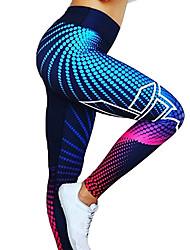 Недорогие -Жен. Завышенная Штаны для йоги Цифровой 3D принт Черный Темно-серый Светло-серый Красный / Белый Серый Спандекс Бег Фитнес Тренировка в тренажерном зале Велоспорт Колготки Леггинсы Спорт / Подтяжка