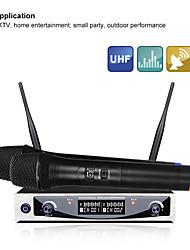 Недорогие -Mu-898 горячая распродажа UHF двойной ручной беспроводной микрофон караоке микрофон для компьютерной студии беспроводной микрофон для лекции