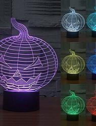 Недорогие -3d ночник 7 цветов иллюзия изменения хэллоуин акриловые тыквы usb светодиодные лампы спальня бар вечеринка клуб для детей мальчики подруга лучшие подарки