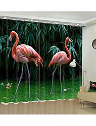Недорогие -3d два розовых фламинго цифровые печатные 3d шторы фестиваль затенение творческие шторы высокая точность черный шелк ткань высокого качества первоклассный затенение спальня