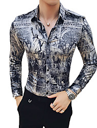 Недорогие -Муж. С принтом Рубашка Уличный стиль / Элегантный стиль Геометрический принт / Контрастных цветов / Графика Серый