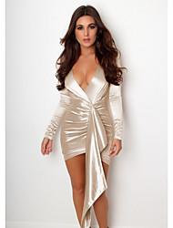 Недорогие -Жен. Элегантный стиль Облегающий силуэт Платье - Однотонный Ассиметричное