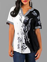 Недорогие -Жен. Блуза V-образный вырез Уличный стиль Цветочный принт Черный
