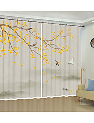 Недорогие -гинкго дерево цифровой печатной 3d занавес классического искусства тень занавес высокой точности черный шелк ткань высокого качества первоклассный оттенок спальня гостиная занавес