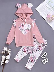 billige -Baby Jente Aktiv / Grunnleggende Ensfarget / Trykt mønster Overskjørt / Trykt mønster Langermet Normal Normal Tøysett Rosa