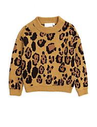 Недорогие -Дети Девочки Классический Леопард Длинный рукав Свитер / кардиган Желтый