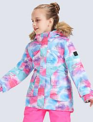 billige -GSOU SNOW Gutt Jente Skijakke Vanntett Vindtett Varm Ski Camping & Fjellvandring Vintersport polyster Joggedress Skiklær