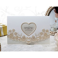 """cheap Wedding Invitations-Tri-Fold Wedding Invitations 50 - Invitation Cards Formal Style Modern Style Floral Style Embossed Paper 6 ½""""×4 ½"""" (16.6*11.5cm)"""