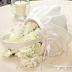 cheap Flower Baskets-Elegant Flower Basket In Ivory Chiffon Flower Girl Basket Wedding Ceremony