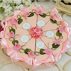 cheap Cake Boxes-Round Square Pyramid Card Paper Favor Holder with Ribbons Printing Flower Favor Boxes - 10
