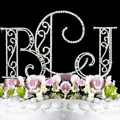 cheap Cake Toppers-Cake Topper Garden Theme Classic Couple Monogram Wedding Anniversary Birthday Bridal Shower Quinceañera & Sweet Sixteen With Rhinestone