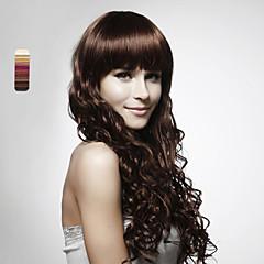 billiga Peruker och hårförlängning-Syntetiska peruker Lockigt Frisyr i lager Syntetiskt hår Vattenfall Mörkbrun Peruk Dam Lång Lång Hel-spets Dagligen