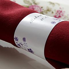 gepersonaliseerde papieren servetring - paarse bloemen (set van 50) huwelijksreceptie