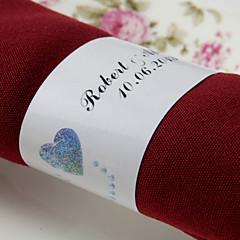 gepersonaliseerde papieren servetring - dubbele harten (set van 50) huwelijksreceptie