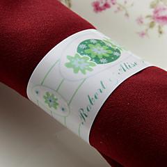 gepersonaliseerde papieren servetring - groene bloem (set van 50) huwelijksreceptie