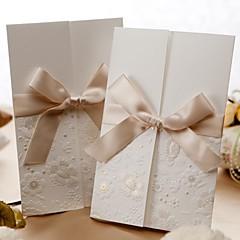 cheap Wedding Invitations-Wedding Invitation Vintage Embossed Tri-fold With Ribbon Bow (Set of 50)