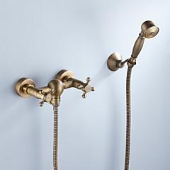 Duş Musluğu - Sanatsal / Retro Antik Pirinç İçerden Montaj Seramik Vana Bath Shower Mixer Taps / İki Kolları Üç Delik