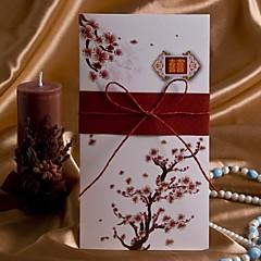 サイド折り 結婚式の招待状-招待状カード アーティスティック フローラル カード用紙 20.8cm*10.3cm リボン