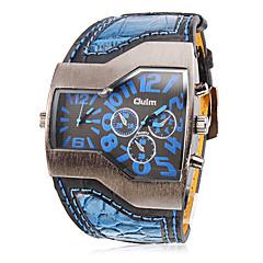 お買い得  メンズ ウォッチ-Oulm 男性用 リストウォッチ 軍用腕時計 クォーツ 2タイムゾーン PU バンド チャーム ブラック 白 ブルー レッド 黄色
