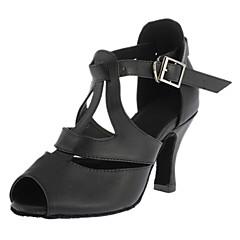 Mulheres Sapatos de Dança Latina / Dança de Salão Couro Salto Presilha Salto Personalizado Personalizável Sapatos de Dança Preto