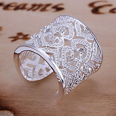 Women's Statement Rings Cuff Ring Unique Design Love Bridal Elegant Luxury Costume Jewelry Sterling Silver Rhinestone Heart Jewelry For