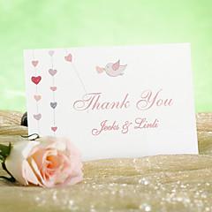 """Cartão Raso Convites de casamento 12-Cartões de Obrigado Estilo Clássico Papel Acetinado 3 ½"""" x 5"""""""