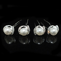cheap Hair Jewelry-Imitation Pearl Rhinestone Alloy Headwear Hair Pin with Floral 1pc Wedding Special Occasion Headpiece