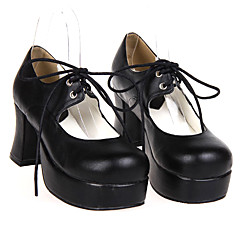 Lolita Shoes Classic/Traditional Lolita Handmade High Heel Shoes Solid 7.5 CM For PU Leather/Polyurethane Leather