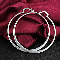 cheap -Women's Silver Plated Hoop Earrings - Circle For