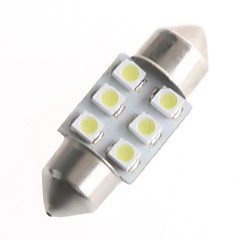 6 SMD LED 1210 31mm bil interiør dome Pinol White pære