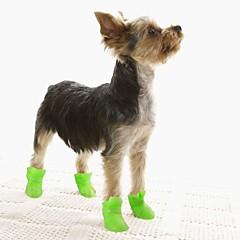 رخيصةأون لوازم حيوانات أليفة-قط كلب أحذية و جزم أحذية جيلي المضادة للانزلاق وحيد مقاومة الماء سادة أسود أرجواني أصفر أزرق زهري للحيوانات الأليفة