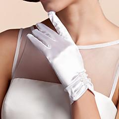 Χαμηλού Κόστους Γάντια για πάρτι-Σατέν Μέχρι τον καρπό Γάντι Νυφικά Γάντια Με Βολάν