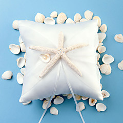 cheap Wedding Ceremony-Starfish and Seashell Ribbons Satin Ring Pillow Beach Theme Winter Spring Summer Fall