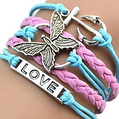Women's ID Bracelets Leather Bracelet Wrap Bracelet Unique Design Love Heart European Inspirational Initial Jewelry Plaited Fashion Multi